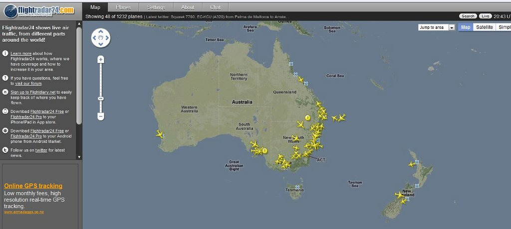 Planefinder net Not Showing Many Of the Plane Flights Over New