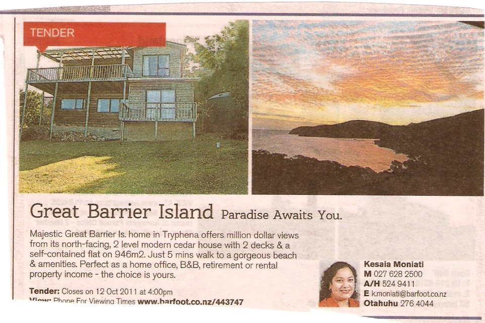 Great Barrier Real Estate Ad Includes Excellent Example Of Ripple ...