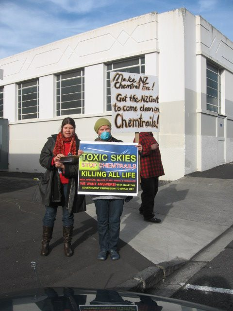 Paula Feather and Rosie at Auckland Protest on June 30th, 2012.