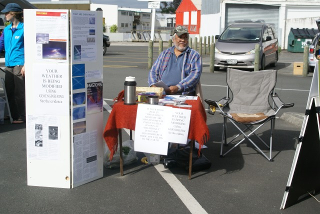 Jim Reece at the Anti-chemtrails/ geoengineering stand at the Farmers Market on Jan. 26, 2013