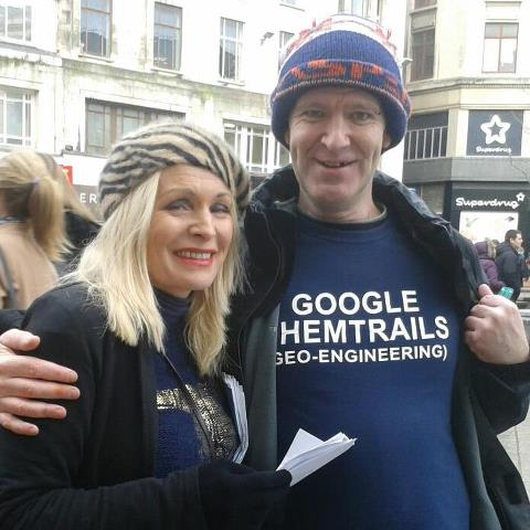 Actress Margi Clarke and David Lloyd, Waking People Up to Chemtrails in Liverpool, England.