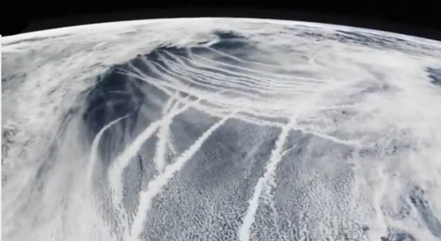 A satellite image showing numerous chemtrails. Shown to Lord Monckton during the interivew.