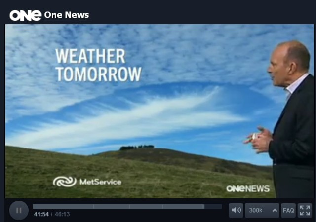 Screen shot taken from One News weather for July the 29th, 2013.