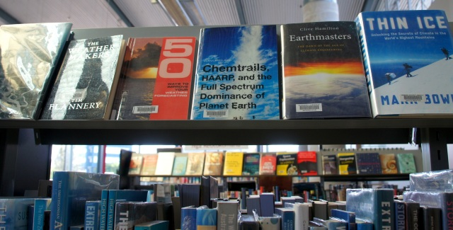 Chemtrails, HAARP, and the Full Spectrum Dominance of Planet Earth has the library call number 551.68 FRE, putting it in between '50 Ways To Improve Your Weather Forecasting' & 'Earthmasters' at the Whangarei Library.