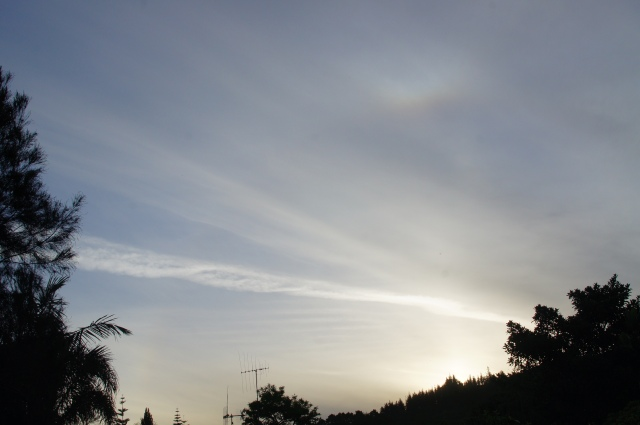 Photo taken of aerosol trail, looking west from Whangarei. 7.35pm approx