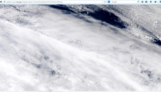 Satellite imagery to the west of Northland, over the sea showing rippling for Nov 27
