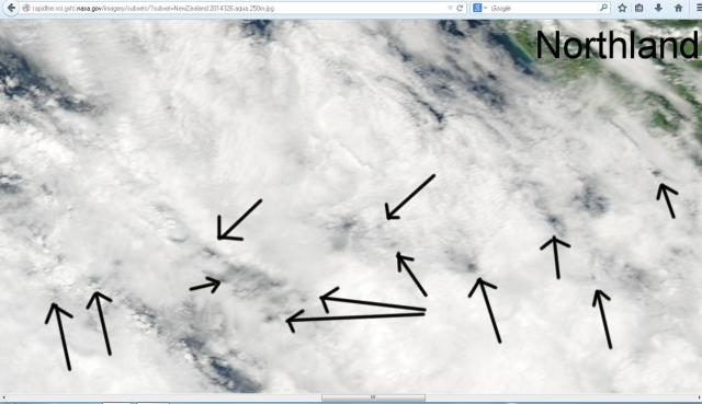 To the west of Northland for November the 22nd, 2014 from Aqua showing the hand of man has been at work interfereing with the weather.