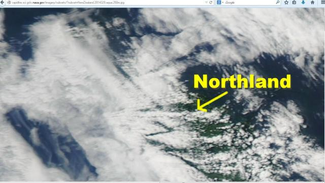 Straight-line cuts in cloud cover over Northland. Note the two right angels.