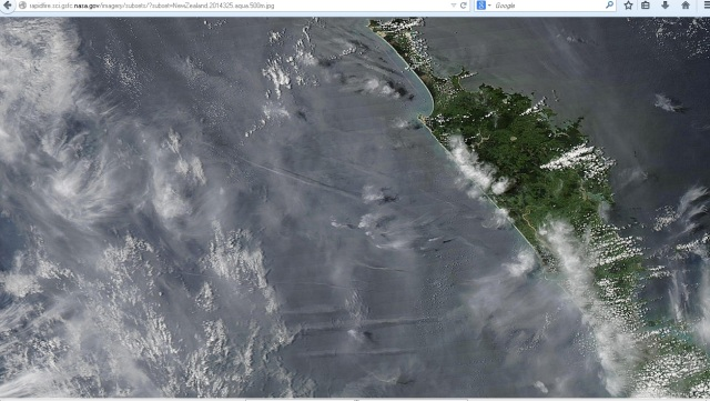 Satellite image from Aqua for November the 21st, 2014 showing the sea to the west of Northland.