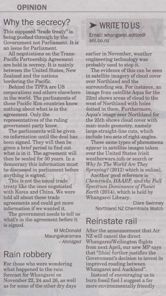 Letter to the Editor in the Whangarei Leader in the December, 2nd, 2014 issue.