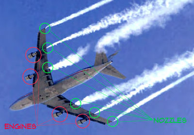 Aerosol trails coming from delivery devices, not engines.