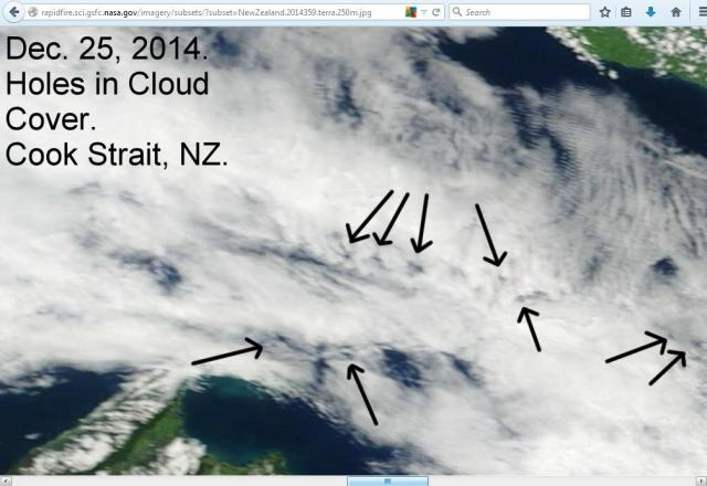 This satellite image comes from Terra for the 25th and appears to show holes in the cloud cover over Cook Strait.   The holes indicate that the weather is being interfered with.  More:  http://weatherwars.info/holes-part-4/