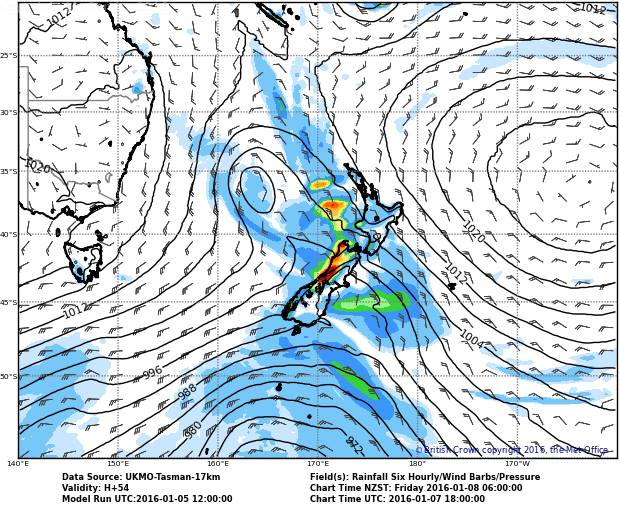Looks like the West Coast, Auckland and Northland will all be hit hard according to the forecast for Friday