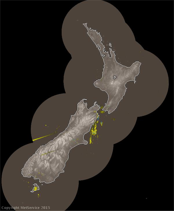 Image from Met Service website showing New Zealand rain radar.